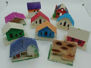 Cardboard Christmas Houses.Details About Vtg Cardboard Christmas Putz Glitter Mini Houses Japan 11 Pcs
