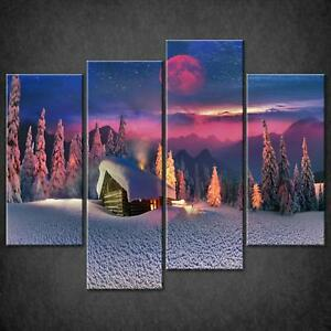 RED-MOON-SNOW-IN-FORET-CANVAS-PRINT-PICTURE-WALL-ART-FREE-FAST-DELIVERY