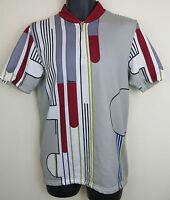 Vtg Cycling Retro Jersey Santini Top Grey Shirt Vintage Trikot Maillot Maglia XL
