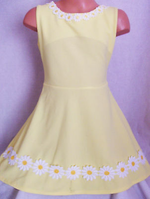 GIRLS 50s STYLE WHITE DAISY FLOWER TRIM SPECIAL OCCASION SKATER PARTY DRESS