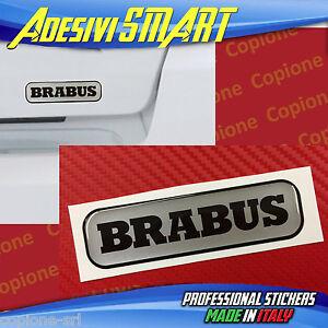 1 Adesivo Resinato Sticker 3d Brabus Smart Argento & Nero Portello Posteriore