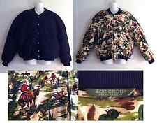Vintage ESPRIT DE CORP Black & Cowboy Print Reversible Bomber Jacket, Size L
