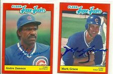 1989 Fleer League Leaders signed ANDRE DAWSON MARK GRACE cards AUTO Chicago Cubs