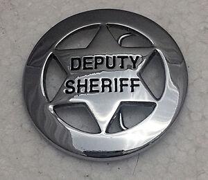 Solid-Brass-Deputy-Sheriff-Badge-Belt-Buckle-6-point-Silver