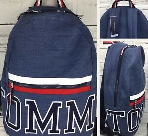 753f8b6df18 Image is loading Tommy-Hilfiger-Denim-Backpack-Spell-Out-Embroidered-Logo-