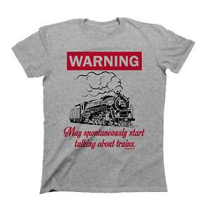 Avertissement-peut-spontanement-commencer-a-parler-de-trains-T-shirt-Garcons-Filles-Enfants-Uni