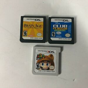 Lot-of-3-Nintendo-DS-DS3-Games-Super-Mario-3D-Land-Brian-Age-amp-Club-Penguin