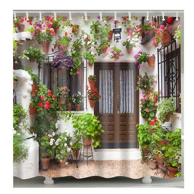 1 Pc Waterproof Flowery Garden Shower Curtain for Home /& Bathroom