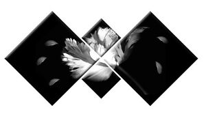 BLACK WHITE GREY FLORAL TWILIGHT NEW MOON FLOWER CANVAS WALL ART  4 PANEL 148cm