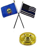 Vermont State & Usa Police Blue 4x6 Flag Desk Set Table Stick Gold Base