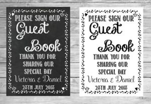 Black And White Photo Guestbook Personalised Wedding Sign Poster