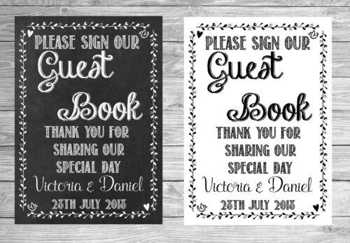 Mariage veuillez signer Notre livre tableau Personnalisé Signe Poster A4 S106