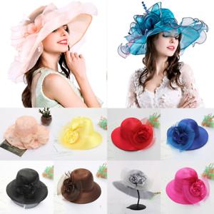 0202a125863 Women Derby Hat Elegant Lady Wide Brim Kentucky Sun Wedding Tea ...