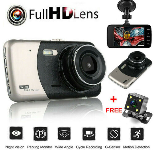 4/'/' HD 1080P 170° Dual Lens Car DVR Front and Rear Cameras Dash Cam Recorder UK