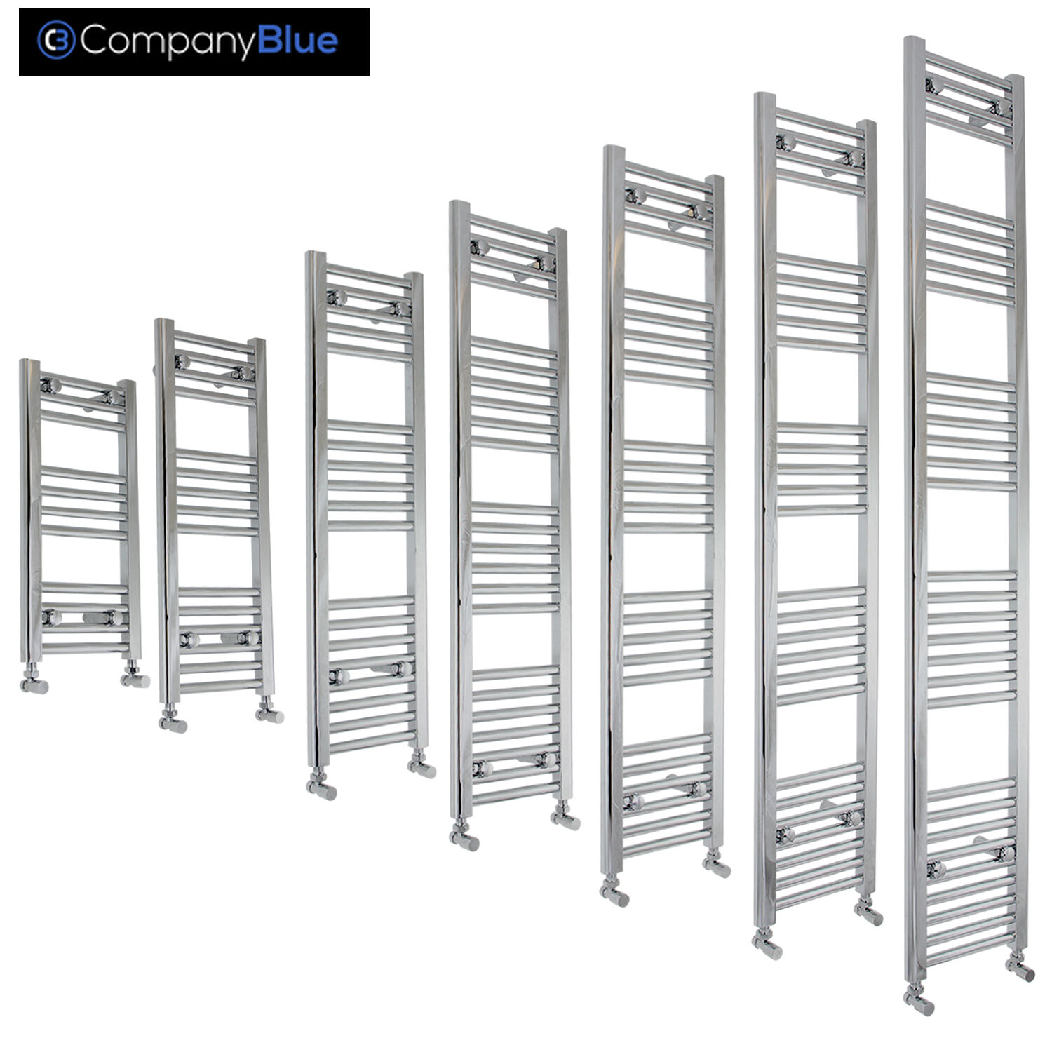 400mm Wide Designer Chrome Heated Towel Rail Radiator Ladder Straight Bathroom
