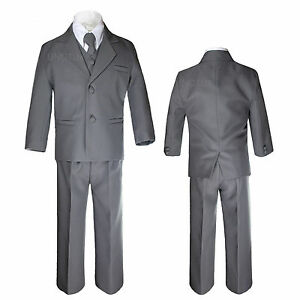 Boys Baby Toddler Kid Party Formal Wedding Dark Grey Tuxedo 5pc Suits Set Sz S-7