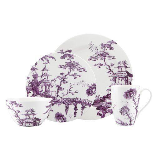 Nouveau 20 pc Lenox SCALAMANDRE toile Conte améthyste 4 PC Place Setting Violet Pour 4