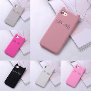 huge selection of e05f8 60bed Details about Cute Cat Beard Ear Shape Phone Case Cover Soft Silicone  Shockproof For iPhone