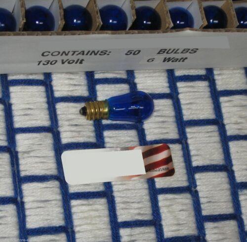 Box of 50 } Transparent BLUE S6 petite CHRISTMAS LIGHT BULB candelabra C7 6w 6S6