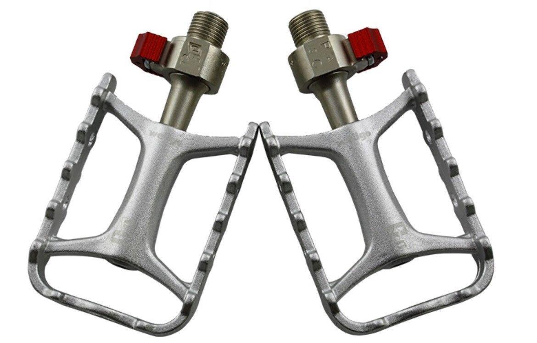 LEGA di Alluminio Pedale Bicicletta Bici a Sgancio Rapido Piattaforma Piatta rilevamento 916 argentoo