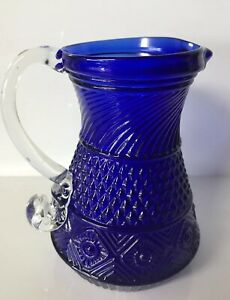 Superieur Image Is Loading Cobalt Blue Small Glass Pitcher With Applied Clear
