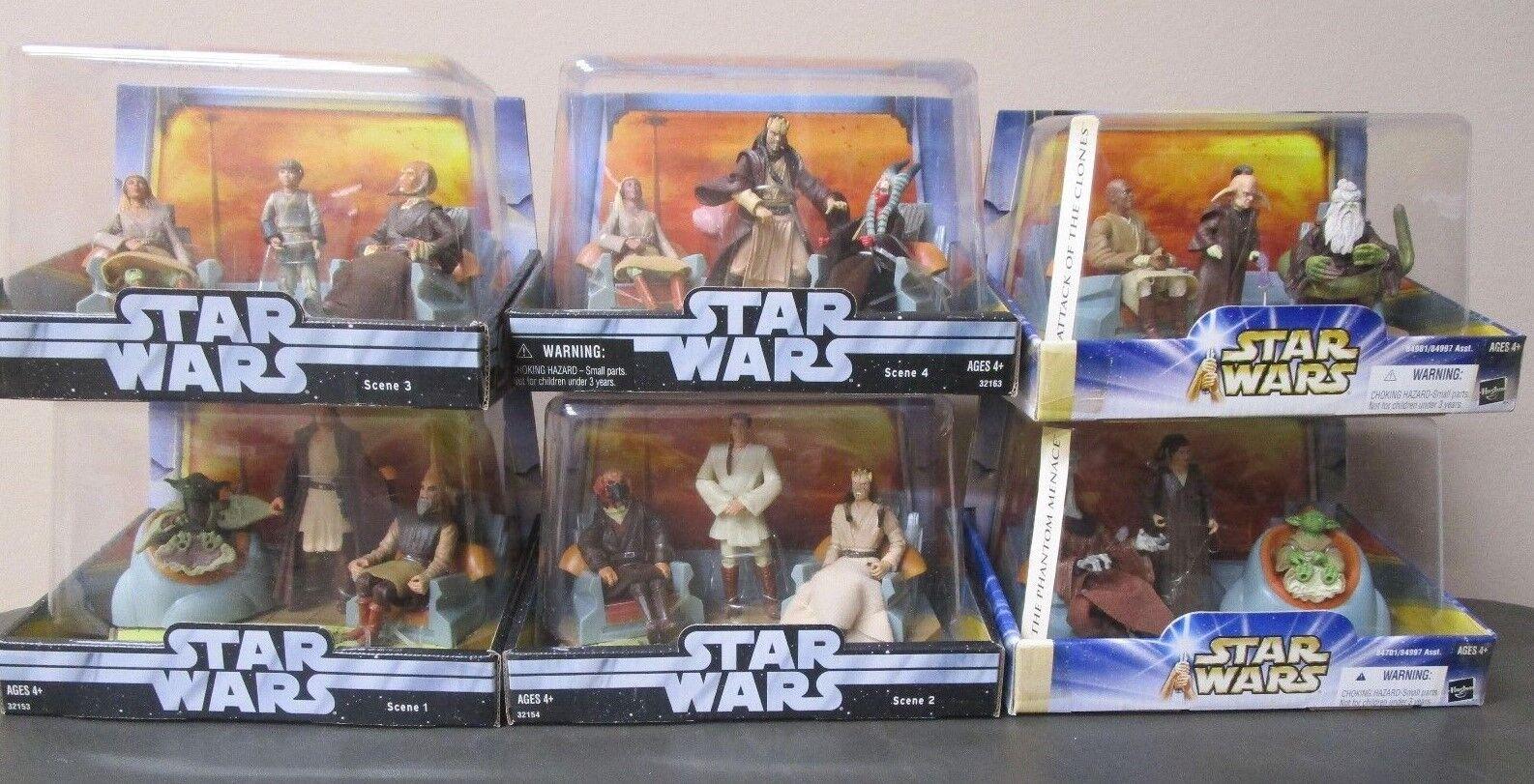 Jedi High Council COMPLETE Set STAR WARS Saga Scene 1-6 MIB 1 2 3 4 5 6