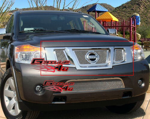 Fits 2008-2015 Nissan Armada Stainless Steel Mesh Grille Insert W//Logo