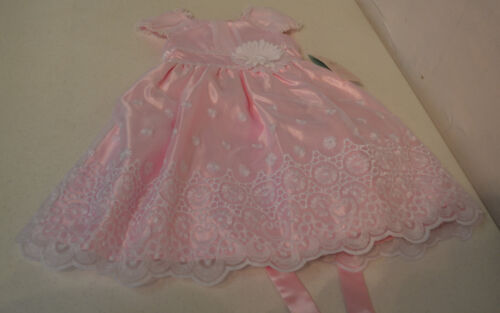 Jona Michelle Girl's Party Dress-PINK WITH WHITE FLORAL OVERLAY-3T-NWT