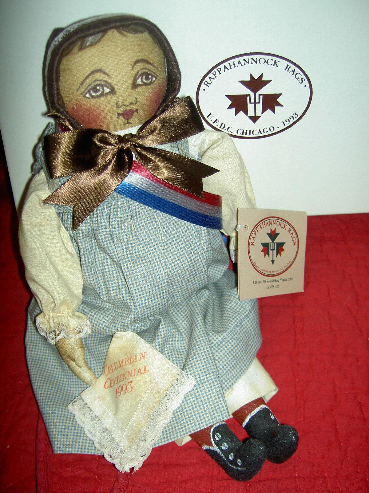 EMMA, Columbian Centennial 1993, UFDC 14  sgnd. cloth doll MIB Rappahannock Rags