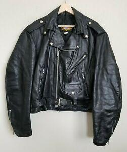 Universal-Rider-Biker-Moto-Leather-Jacket-Black-Zip-Snaps-Belt-Pockets-Lined-M