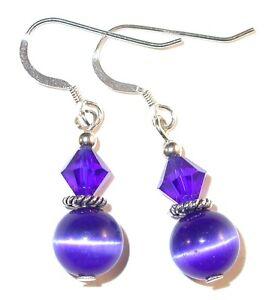 Royal-COBALT-BLUE-Crystal-Cat-039-s-Eye-Earrings-Sterling-Silver-Swarovski-Elements