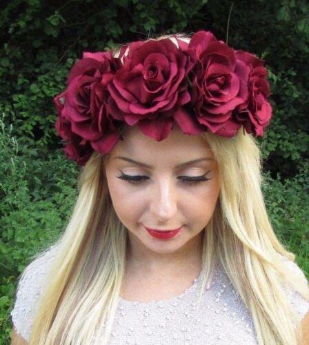 Large Burgundy Red Rose Flower Garland Headband Hair Crown Festival Big 3224