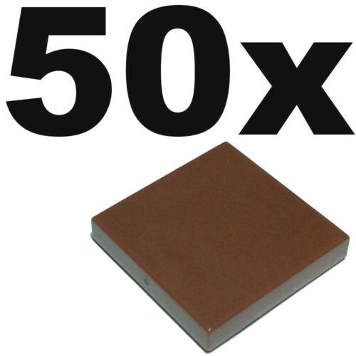 TILES Brown Reddish tile x 50 2 x 2 smooth flat tiled 2x2 NEW LEGO