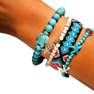 4-Pieces-Summer-Charm-Bracelet-Set-Handmade-Unique-Design-Friendship-Bohemia-F2E