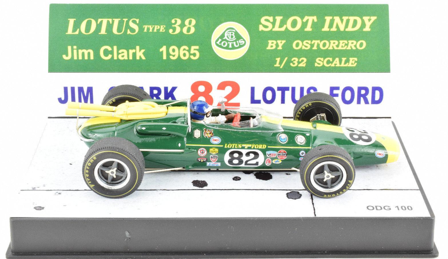Ostorero Lotusタイプ38-ジム・クラーク-1965のインディ500 1 / 32スケールスロットカーODG 100