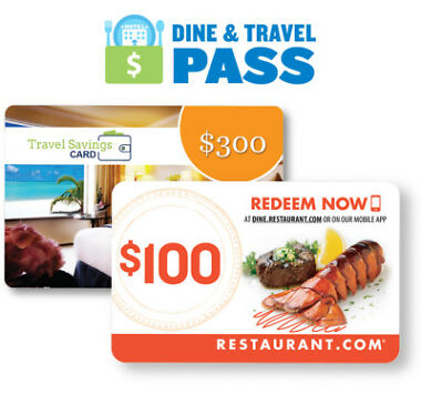 $400 Dine and Travel Pass Gift Card by Restaurant.com