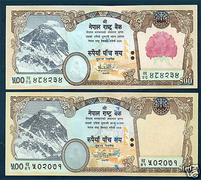 Enthusiastic Nepal 2 Everest Banknote Rs.500 With W/out Flower Printd P 65,66,sign 16 &18 Unc And To Have A Long Life. Asia Nepal