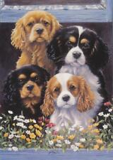 King Charles Spaniel Dog Puppy Animal Painting Gardener Flowers Birthday Card