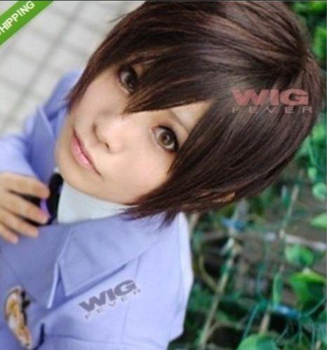 Ouran High School Host Club Haruhi Fujioka Short Dark Brown Cosplay Wig