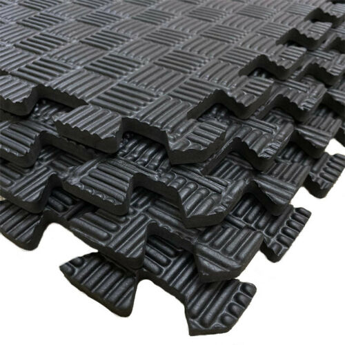 Black Interlocking Soft Foam Mat Yoga Gym Exercise Fitness Rug Carpet Playmats