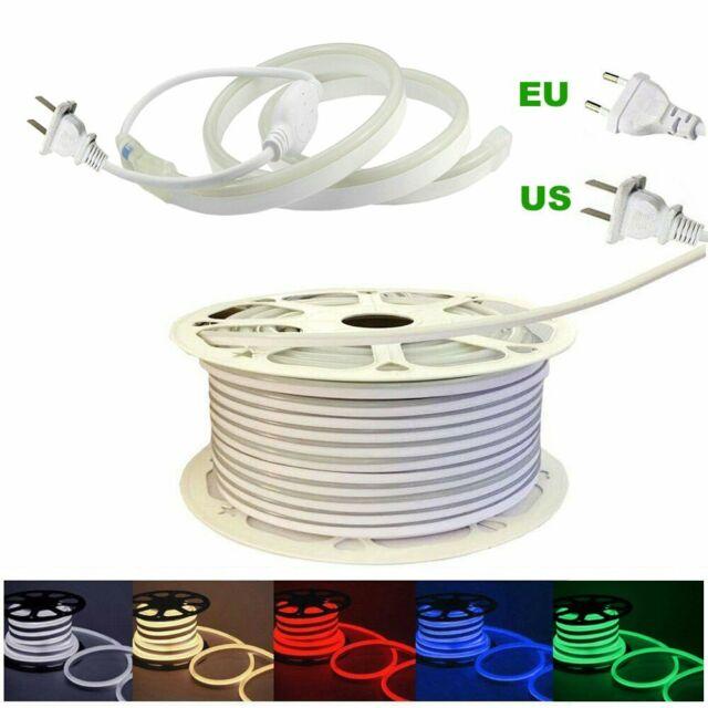 AC 100V-240V LED Neon Rope Strip Lights 2835 120LED//M Rope Wire Light With Plug