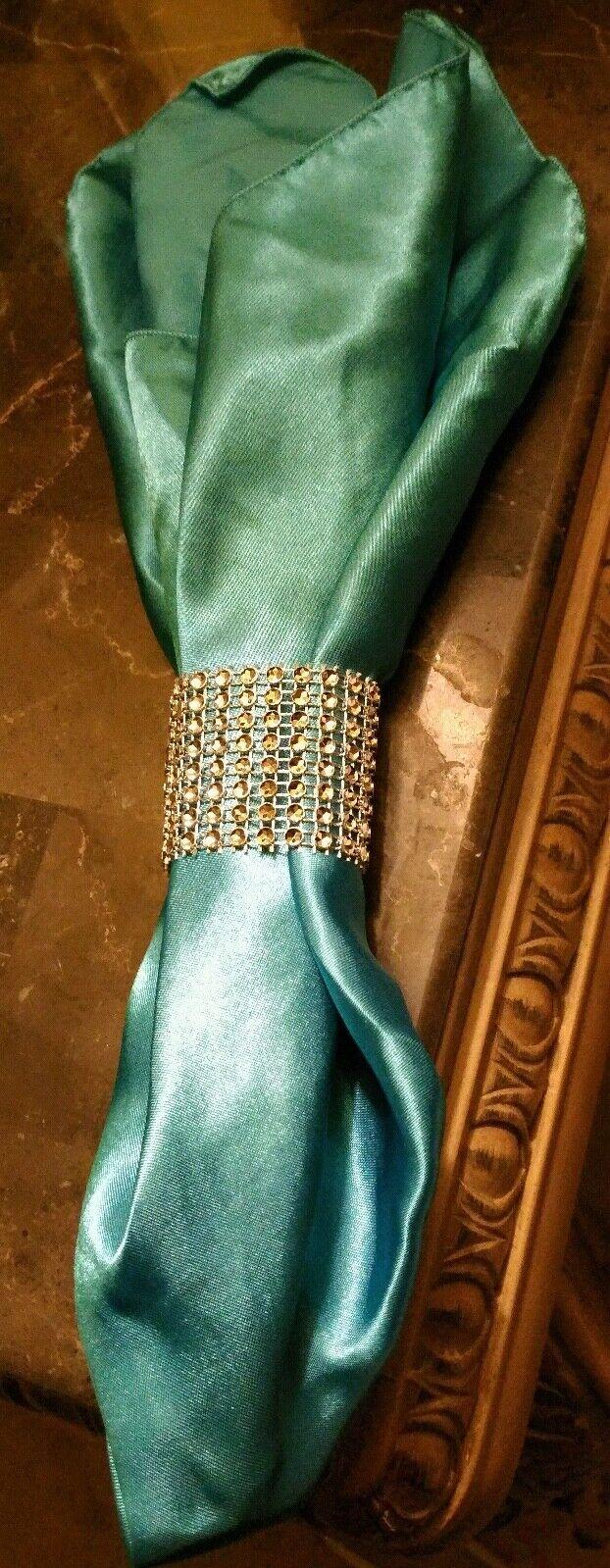 12 Satin Soyeux 20x20  serviettes linge Catering Décorations-avec faux diamant