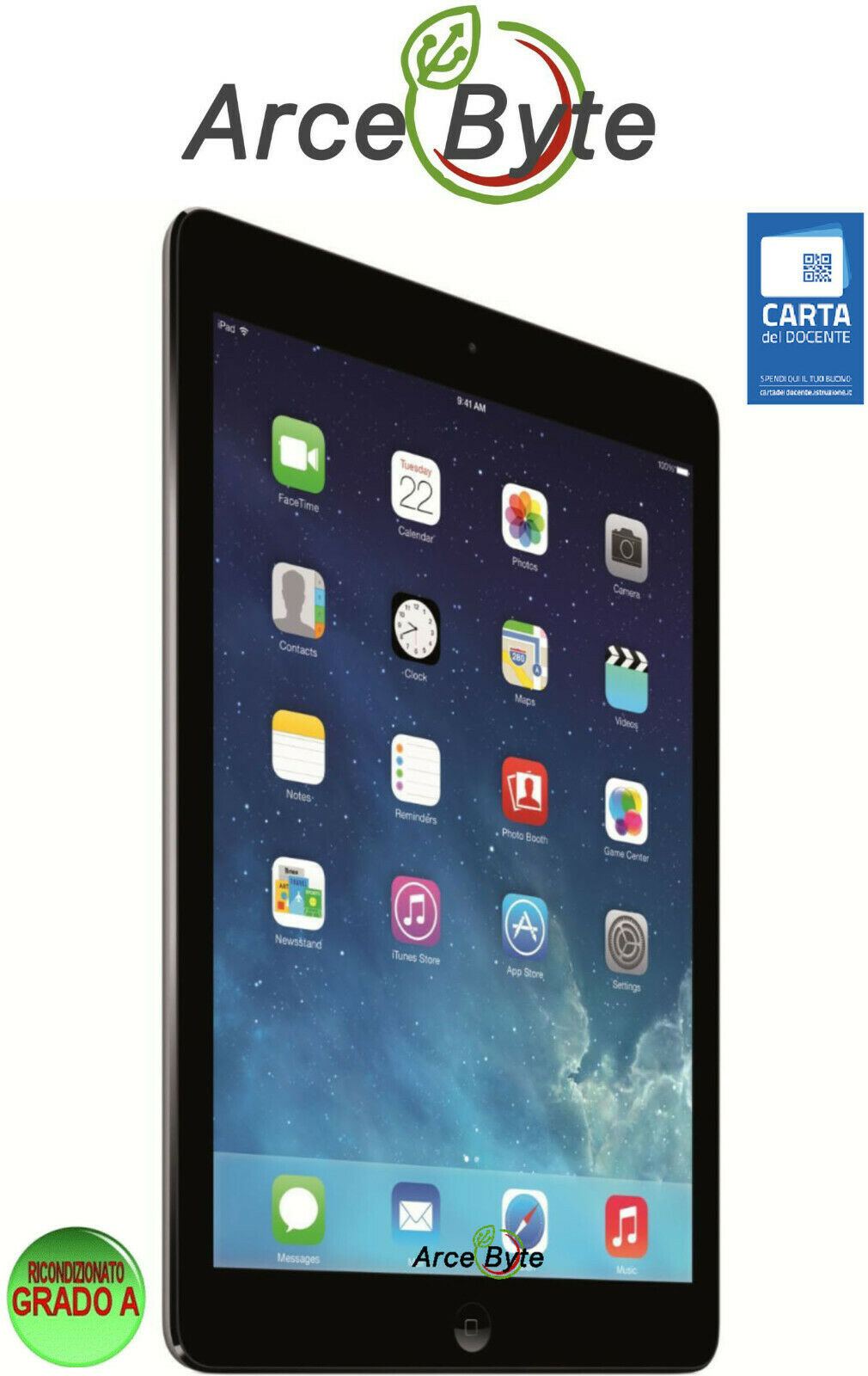 iPad: APPLE IPAD AIR 9.7 RETINA DISPLAY 16GB IOS 12 GRADO A FATTURABILE RICONDIZIONATO