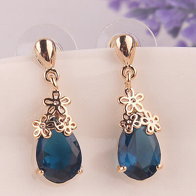 Women 14K Gold Plated 4 Colors Flower Zircon Pendant Dangle Earrings Jewelry