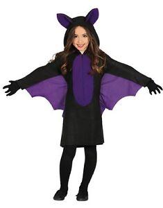 official photos b53f6 5d78f Dettagli su Viola di Ragazze Pipistrello Nero Halloween Animale Costume  Vestito 3-12 Anni