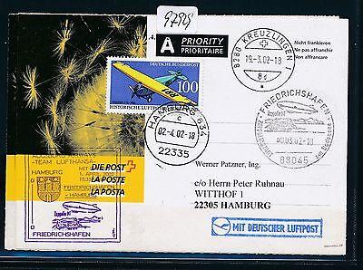 SchöN 97929) Aa / Lh Ff Frdhfn - Hamburg 1.4.02, Zeppelin Nt, Kte Ab Schweiz Formular