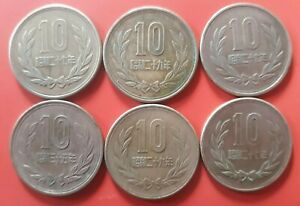**6 Japan 10 YEN Coins - Showa Reeded Edge Nice Set to Add To Your Collection
