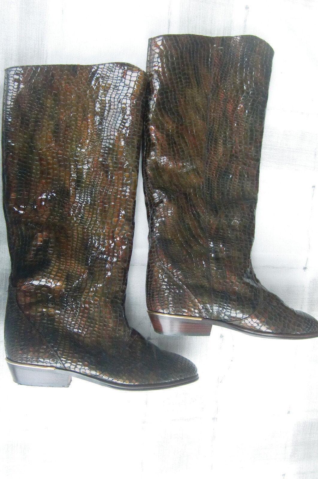 Stiefel,Elegant,Leder Reptiloptik,braun/gold,K&S ,Kennel & Schmenger,Gr 4 / 37
