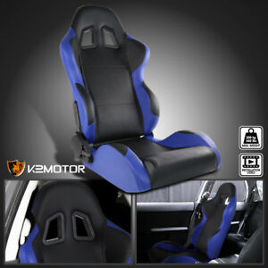Passenger-Side-Black-Blue-PVC-Leather-Reclinable-Sports-Racing-Seat-w-Slider