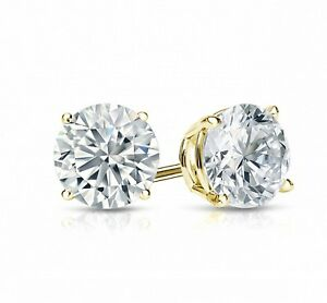 2-Ct-Round-Cut-Stud-Earrings-Solid-14k-Yellow-Gold-Finish-Push-Back
